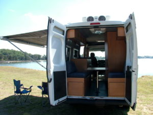 Back view of Fiat conversion by Allseasons Campervans